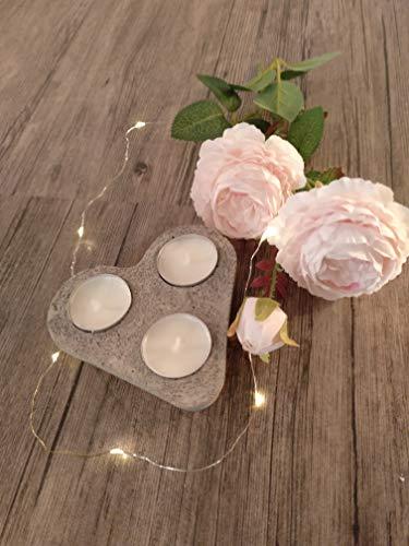 DIY Betondeko Teelichthalter Herzform 3er LIcht Kerze