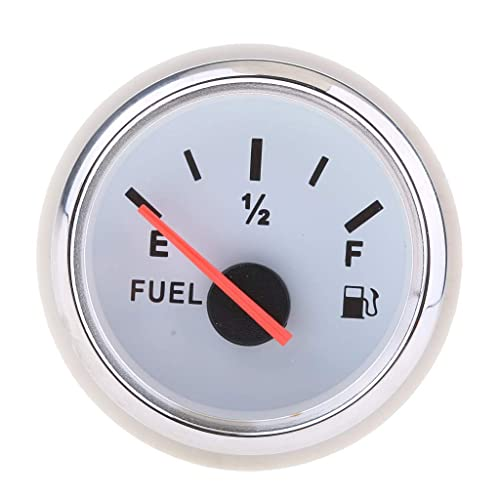 MENHUA Manómetros de Combustible, Medidor de Combustible LED de 52 mm, Medidor de Combustible Digital de Motocicleta (Blanco)