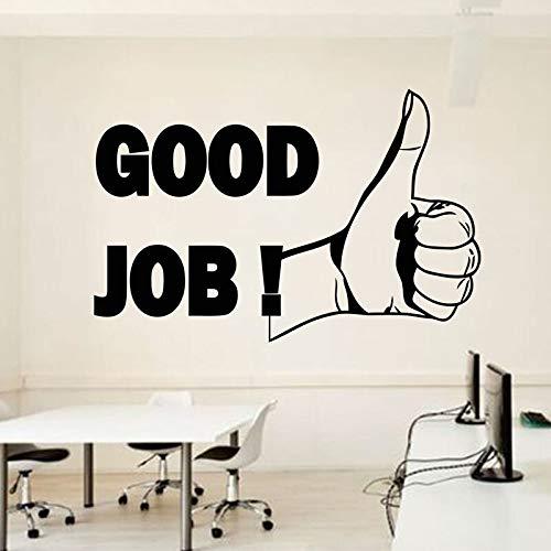 jiushivr Good Job Finger Vinyl Sticker Thumbs Up Motivation Office Business Vinyk Stickers Self-adhesive Mural Unique Gif128x84cm