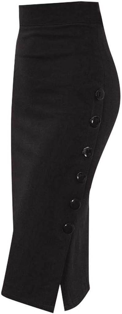 Womens Pencil Skirt Ladies High Waisted Button Split Office Skirt Multiple Size