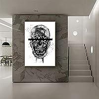 抽象芸術のキャンバスプリントポスター、頭蓋骨のモダンな家族の寝室の装飾のポスター、キャンバスアートのポスター、壁の芸術リビングルームの写真フレームなし-B_60X80CM