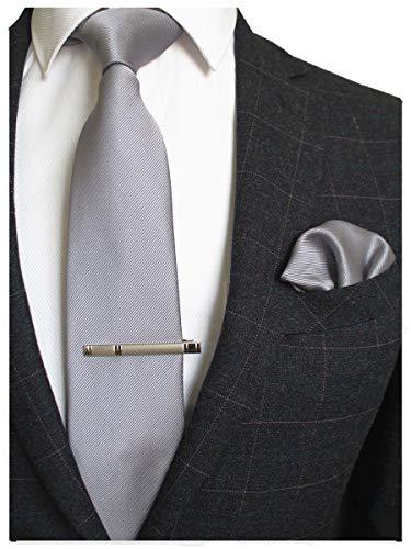 JEMYGINS Herren Hochzeit Krawatten und Einstecktuch krawattenklammer Set einfarbig in verschiedenen Farben, Grau, M
