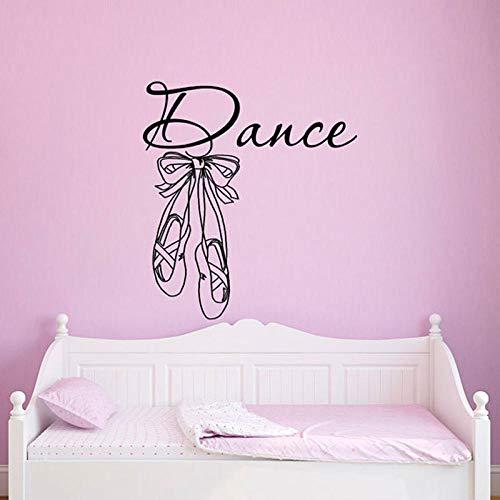 ZJfong dansmuursticker, zelfklevend, ballet, schoenen, pantoffels, ballerina, kunstdecoratie, voor thuis, meisjes, kinderkamer, afneembaar, 42 x 46 cm