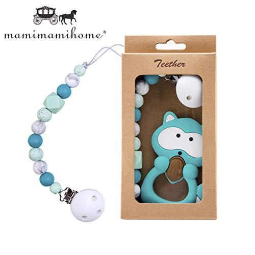 Mamimami Home Baby Silikon Waschbär BPA Frei Beißring Schnuller Kette Halter Silikon Dummy Clip kaubare Perlen Kinderkrankheiten Spielzeug Dusche Geschenk