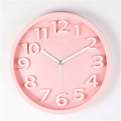 Reloj de pared moderno con péndulo para sala de estar, silencioso, simple, a la moda, estéreo, digital, color caramelo, personalizado, decorativo reloj de pared, metal, Rosa, 12