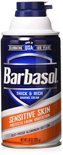 Barbasol Thick & Rich Shaving Cream, Sensitive Skin 10 oz (Pack of 3)