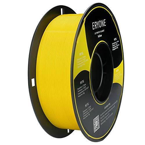 Filamento PETG Yellow 1.75 mm, Filamento ERYONE PETG para Impresora 3D y Lápiz 3D, 1 kg, 1 Spool