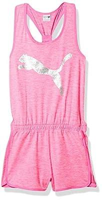 PUMA Girls' Romper, Fluo Pink Heather, Medium (8-10)