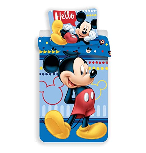 Unbekannt Disney Mickey Mouse - Juego de cama reversible (140 x 200 cm, funda de almohada de 70 x 90 cm, 100% algodón), color azul