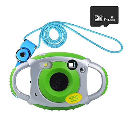 Funkprofi Digitalkamera für Kinder, 5 Megapixel Mini Kinderkamera mit 1,77 Zoll Display Kids Camcorder Geschenk und Spielzeug für Kinder - Grün mit 16GB TF Karte