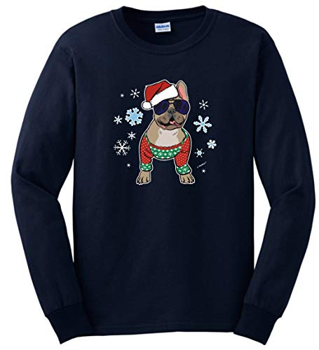 French Bulldog Dog Owner Gifts Christmas Clothes Frenchie in a Christmas Sweater Long Sleeve T-Shirt 2XL Navy