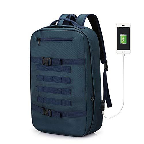 YBG Mochila multifuncional grande de viagem dupla bolsa de ombro masculina mochila de negócios laptop com porta de carregamento USB para computador de 15,6 polegadas, azul