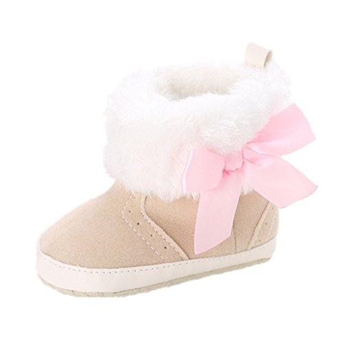 Auxma Baby Schuhe Baby Mädchen Weiche Sohle Schneeschuhe Weiche Krippe Schuhe Kleinkind Stiefel für 0-18 Monate (11cm/0-6 Monate, Beige)