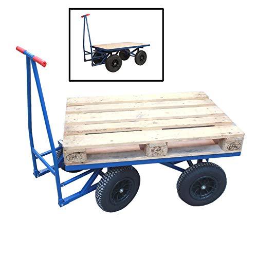 TRUTZHOLM® XXL Profi Palettenwagen 120x80 cm Ladefläche Palettenmaß 500kg 0,5to Transportwagen Magazinwagen Schiebebügelwagen