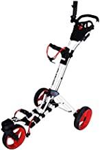 Qwik-Fold 360 Swivel 3 Wheel Push Pull Golf CART - 360 Rotating Front Wheel - ONE Second to Open & Close! (White/Red)