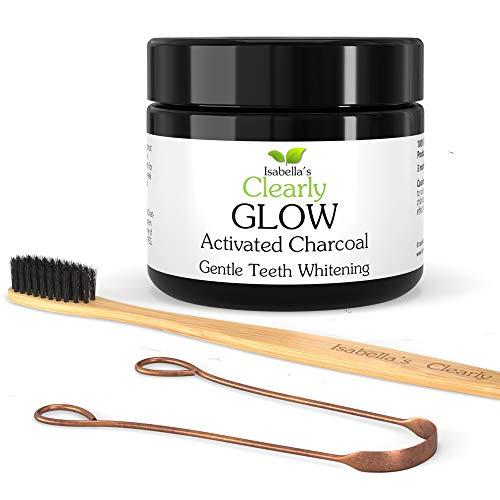 Clearly GLOW KIT - Poudre de charbon actif sans OGM de blanchiment des dents, Racloir de langue en CUIVRE, et brosse à dents BAMBOU. 20g