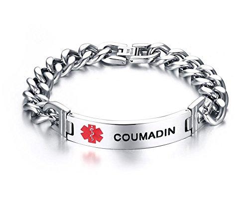 VNOX COUMADIN Bracelet Stainless Steel Medical Alert ID Bracelet for Unisex 8.3'