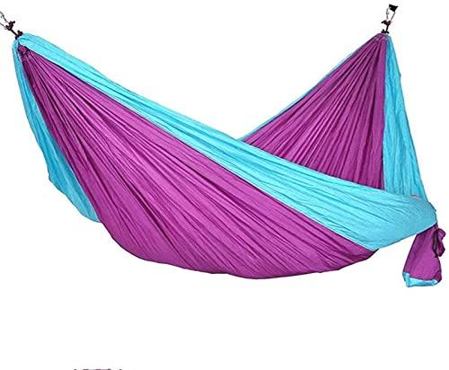 Tienda de campaña al aire libre, Hamaca de acampar de doble recreación portátil con correas de paracaídas de tela ligera portátil para mochileros, viajes, playa, patio y regalos de supervivencia al ai