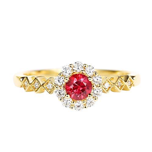 Aeici Anillos Mujer Oro amarillo 18k, Anillos De Matrimonio Rubí Diamante 0.25ct, Redonda, Talla 22