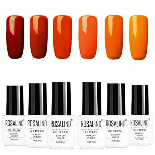 ROSALIND smalto per unghie smalto gel set arancio Vernice semipermanente serie LED UV per manicure 6 pezzi 7ml