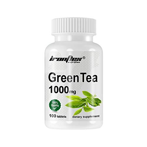 IronFlex Green Tea Paquete de 1 x 100 Tabletas - Camellia Sinensis - Extracto de Hoja de Té Verde - Polifenoles - Suplemento Dietético - Adelgazante - Control de Peso