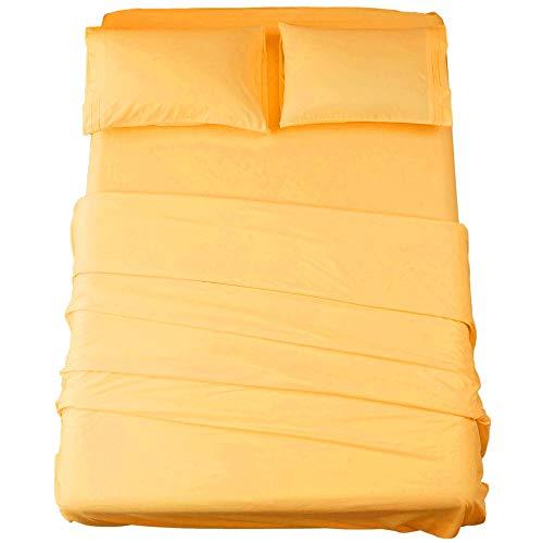 SONORO KATE Juego de sábanas de microfibra súper suave de 1800 hilos, sábanas egipcias de lujo de 40,6 cm de profundidad, arrugas e hipoalergénicas, 5 piezas (amarillo, juego King dividido)