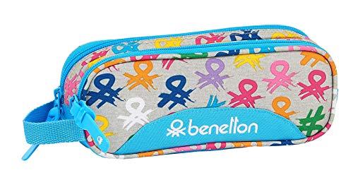 safta 812052513 Estuche portatodo Doble 2 Cremalleras Escolar Benetton, Multicolor