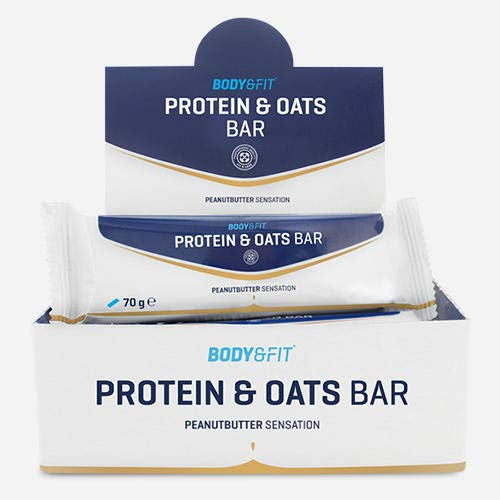 Body & Fit Protein & Oats Bar - Peanutbutter - 12er pack (12 Proteinriegel)