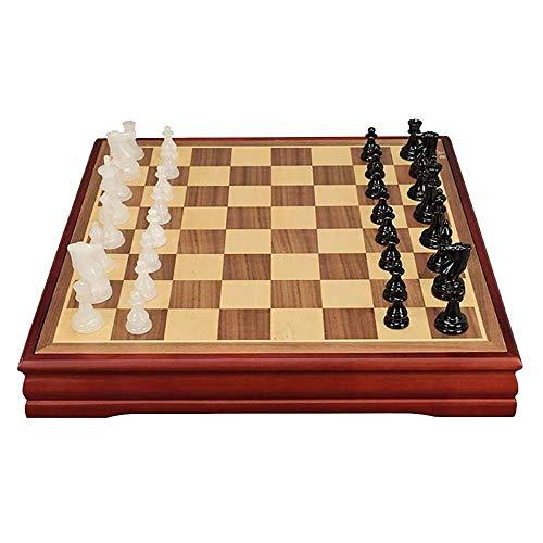 ZOUQILAI Tablero de ajedrez de madera, con el jade piezas de ajedrez, juego de mesa portátil de gama alta de regalo for el recorrido, regalo for los niños con estimular su ejercicio del cerebro su men