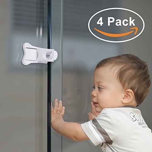 Paquete de 4 cerraduras para puertas correderas para segurid