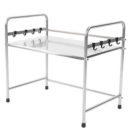 Organizador de estantes para microondas: estante para horno de microondas de acero inoxidable, soporte único, organizador de estantes para encimera de cocina