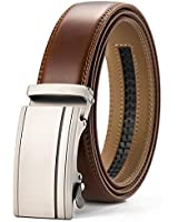 Men's Leather Ratchet Belt Dress with Automatic Slide Buckle Adjustable - 1 3/8