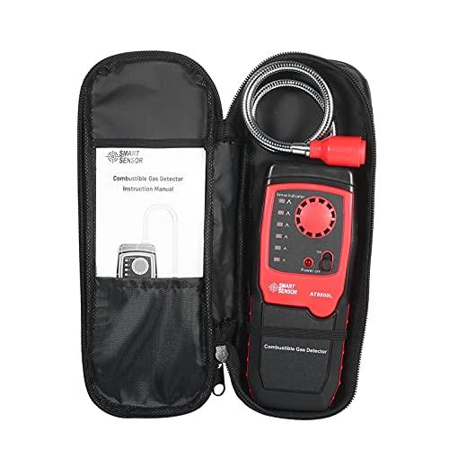 Kit de recarga de AC Detector de fugas de propileno portátil, Tesco de gas de combustible de metano y gas natural, sniffer con alarma de sonido y luz, sensible y ajustable para casa