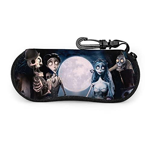 zhufeifan Tim Burton'S Corpse Bride Fundas de Gafas Estuche blando para gafas de sol Estuche para gafas de neopreno ultraligero con cierre de cremallera y clip para cinturón