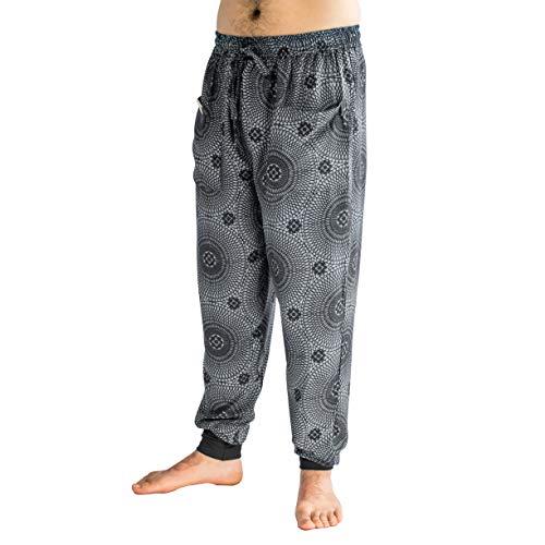 PIYOGA de los Hombres Pantalones Basculador Slim Fit, Yoga, Casual (Ajustable con Nosotros M 30-34) - Joggers Estiramiento S a L (30-34) Onyx Flor de la Vida