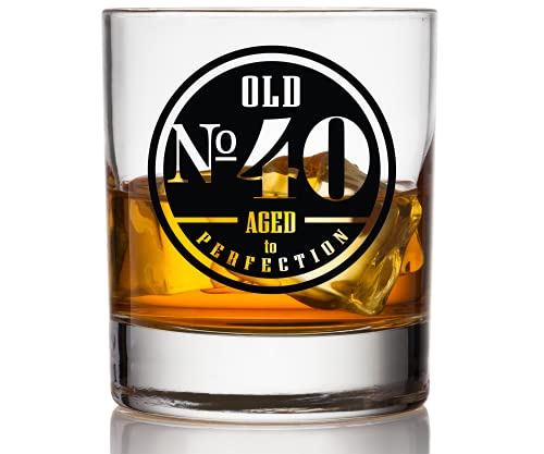 Old No. 40 Whiskey Glass For Men - 40th Birthday Gifts for Him - Unique Scotch Glass - 40th Birthday Decorations and Party Supplies - Perfect 40th Anniversary Idea for Dad, Husband, grandpa, Friend