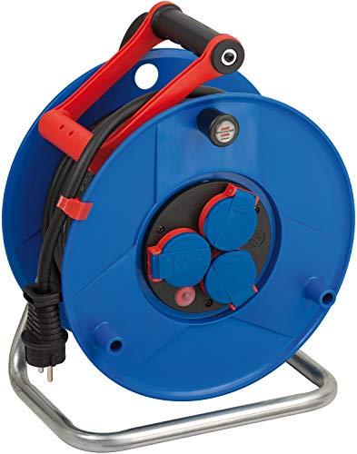 Brennenstuhl Garant IP44 Gewerbe-/Baustellen-Kabeltrommel, 25m aus Spezialkunststoff (Baustelleneinsatz und ständiger Einsatz im Außenbereich, Made in Germany) blau