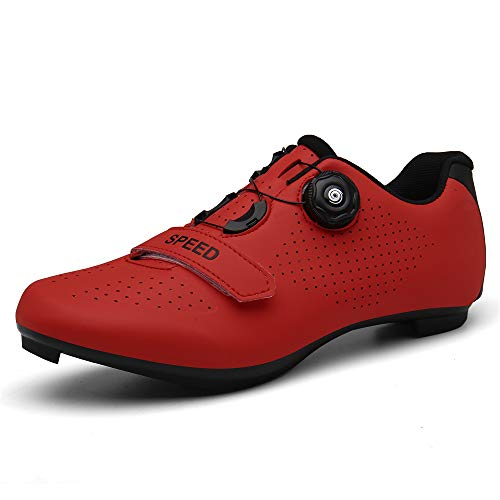 BETOOSEN Men's Women's Breathable Road Bike Cycling Shoes MTB Spin Cycling Shoe with Quick lace Compatible with SPD Cleats (Red, 11.5 M US Women/10 M US Men)