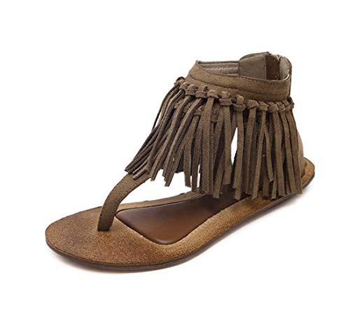 Zapatos de Mujer Vintage con Flecos Sandalias de Gamuza de Gamuza Zapatos de Mujer Retro de Fondo Plano en Espiga Zapatos de Playa cómodos 35-39 (Color : Brown, Size : 36)