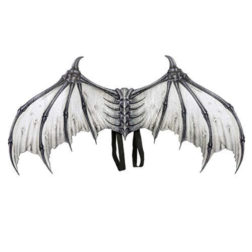 Amosfun 1 unid Disfraz de Diablo de ala de Halloween alas de Demonio Disfraz de alas de Mardi Gras para Fiesta de Disfraces Cosplay Performance niños Adultos (Blanco)