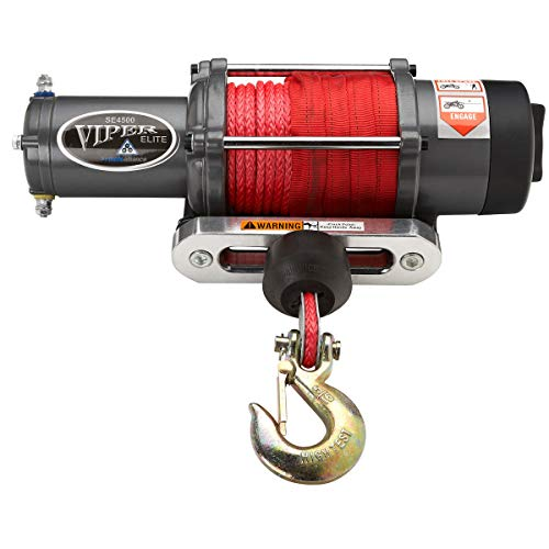 MotoAlliance VIPER Elite UTV Winch 4500lb- 65 feet RED Rope, Wireless Remote