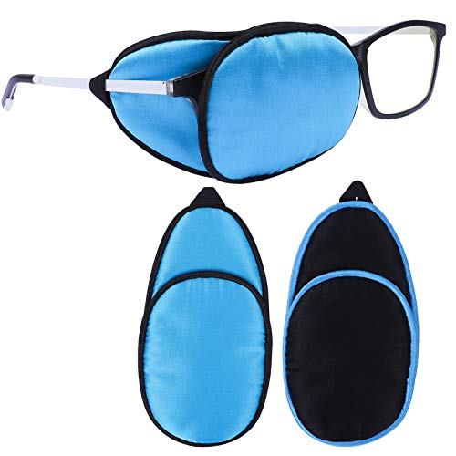 eZAKKA Eye Patches for Adults, Eye Patch for Glasses Silk Patch for Lazy Eye Amblyopia Strabismus and After Surgery (Navy Blue+Black)