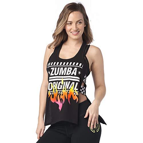 Zumba Athletic Open Side Fashion Canotta Traspirante Danza Donna Allenamento Top - Nero - L