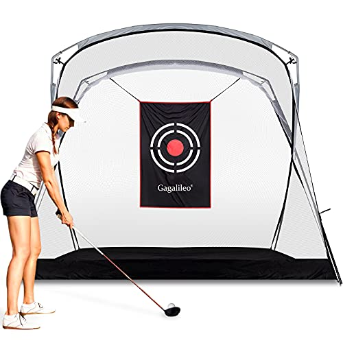 Gagalileo Golf Hitting Net Heavy Duty Golf Net Golf Practice Nets for Backyard Home Driving Range with Target and Carry Bag 9.3(L) x5.3(W) x6.5(H) FT