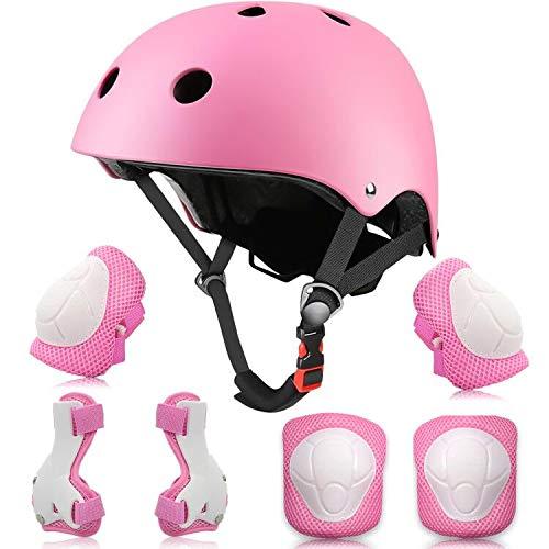 Yuanj Schonerset Kinder Protektoren Gear Set Helm kit, Mädchen & Jungen Knieschoner Set für Skateboard, Longboard, Stunt Scooter, Fahrrad, Rollschuhe (Rosa)