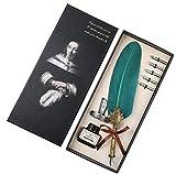 Juego de pluma y tinta hechas a mano con pluma de caligrafía antigua, para escribir en inglés, regalo de papelería ejecutiva vintage con bases de punta de botella (verde)