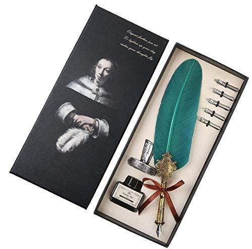 Quill Pen Antike Kalligraphie Feder Handgemachte Feder und Tinte Set, Vintage Executive Briefpapier Geschenk mit Flaschenfedern Harry Potter Feder und Tinte Set mit Geschenkbox & 5 Federn