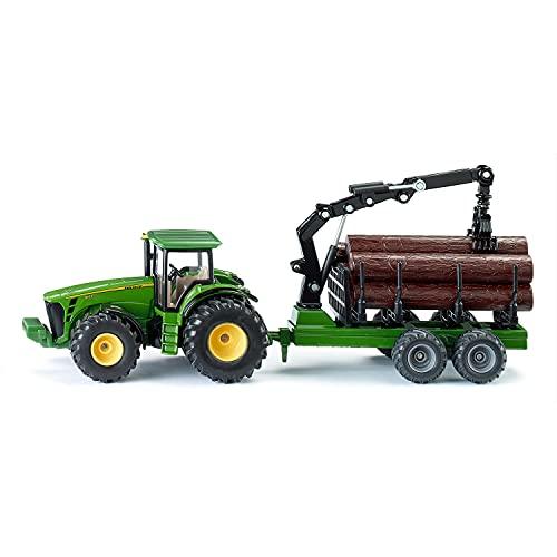 siku 1954, John Deere Traktor mit Forstanhänger, 1:50, Metall/Kunststoff, Grün, Funktionsfähiger Ladearm und Greifer
