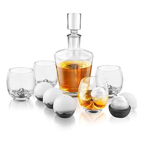 Conjunto decantador de whisky, vaso para toque final en las rocas.El Conjunto de 10piezas incluye vasos de whisky, moldes de bolas de hielo de silicona, decantador y tapón GS400.