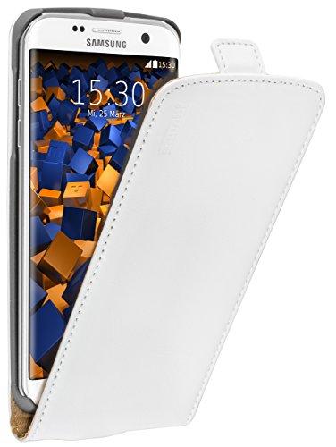 mumbi PREMIUM Funda con tapa de cuero real compatible con Samsung Galaxy S7 Edge, blanc